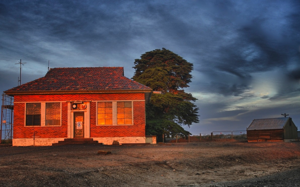 WTP Pumphouse. RIght on sunset, the cloud parted just as the sun set and a beautiful shaft of orange light skidded across the paddocks.