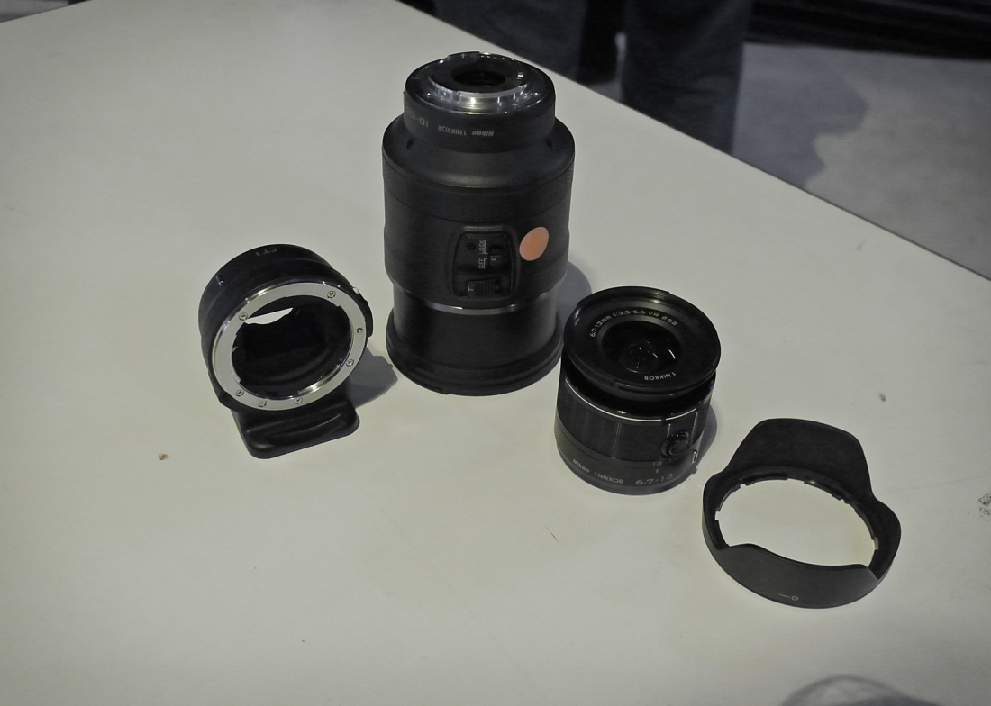 A fine looking stable of lenses. The FN-1 Adpator, the 10-100 PD Zoom, the 6.7-13mm Wideangle and shot with the 10mm f/2.8 Nikon 1 V1 10mm f/2.8 Lens ISO 640, 1/100, f/2.8